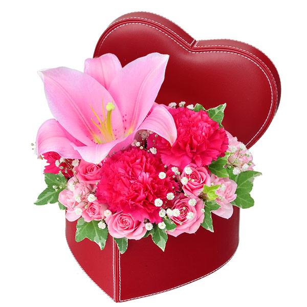 【いい夫婦の日】ユリのハートボックスアレンジメント 512112 |花キューピットの2019いい夫婦の日特集