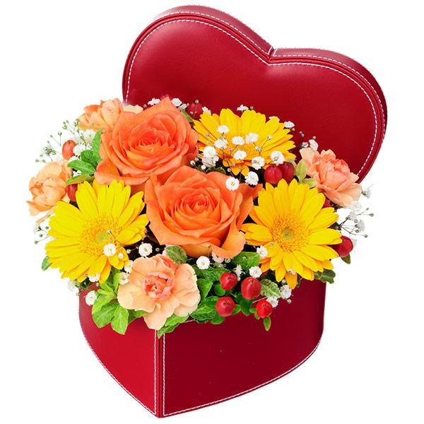 【いい夫婦の日】オレンジバラのハートボックスアレンジメント 512114 |花キューピットの2019いい夫婦の日特集