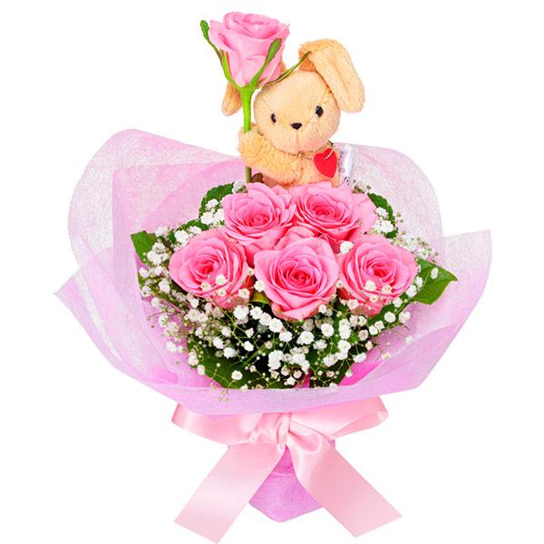 【いい夫婦の日】ピンクバラのマスコット付きブーケ 512116 |花キューピットの2019いい夫婦の日特集