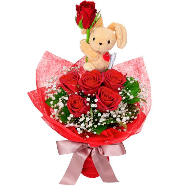 【誕生日フラワーギフト】赤バラのマスコット付きブーケ
