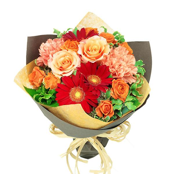【春の退職祝い・送別会】オレンジバラと赤ガーベラのナチュラルブーケ 512123 |花キューピットの春の退職祝い・送別会