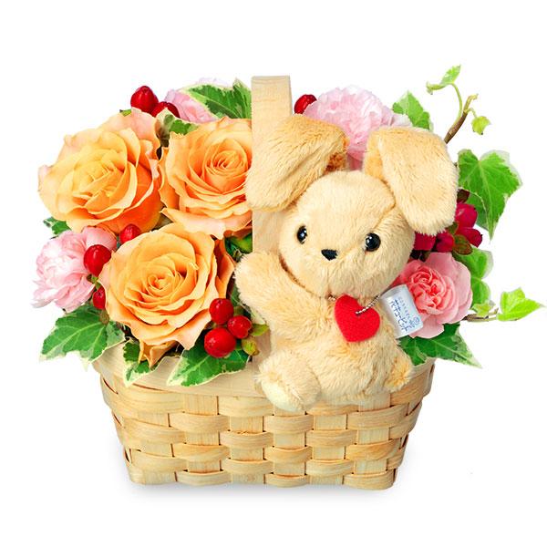 【ご出産祝い(法人)】オレンジバラのマスコット付きウッドバスケット