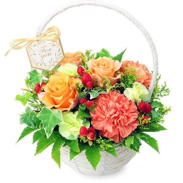 【誕生日フラワーギフト】オレンジバラのナチュラルバスケット