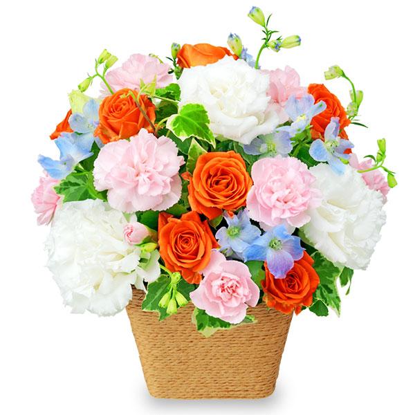 【誕生日フラワーギフト・バラ】ホワイト&オレンジのアレンジメント