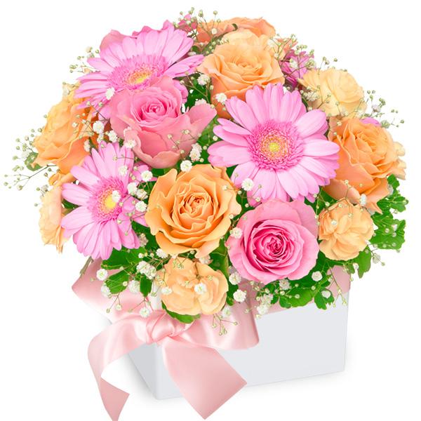 【アレンジメント(法人)】ピンク&オレンジのキューブアレンジメント