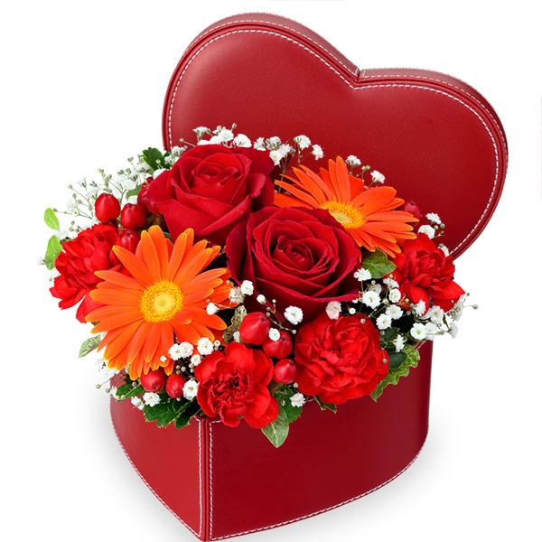 【結婚祝】赤バラのハートボックスアレンジメント