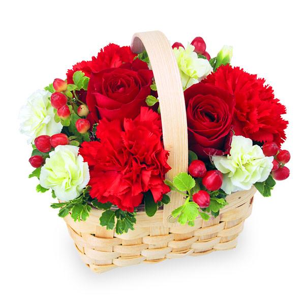 【誕生日フラワーギフト】赤色のウッドバスケット