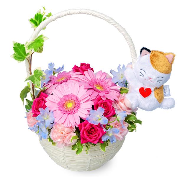 【誕生日フラワーギフト】ピンクガーベラのマスコット付きバスケット