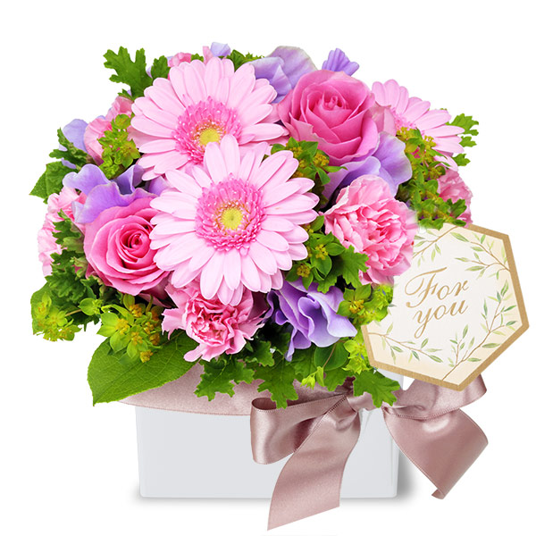 【1月の誕生花(スイートピー等)】バラとガーベラのキューブアレンジメント