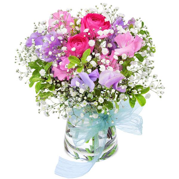 【ホワイトデー】ラナンキュラスとスイートピーのグラスブーケ 512145 |花キューピットのホワイトデー