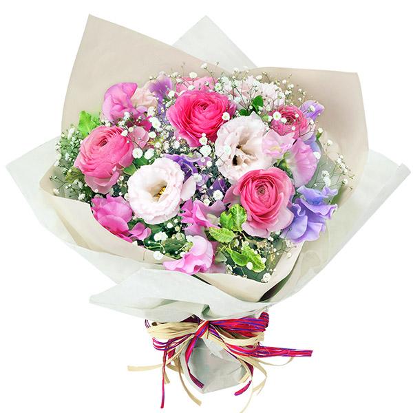【誕生日フラワーギフト】ピンクとパープルのふんわりブーケ