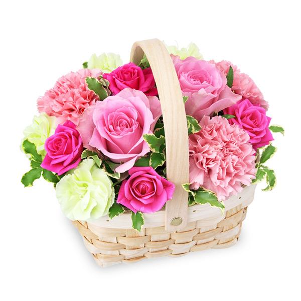 【誕生日フラワーギフト】ピンクのウッドバスケット