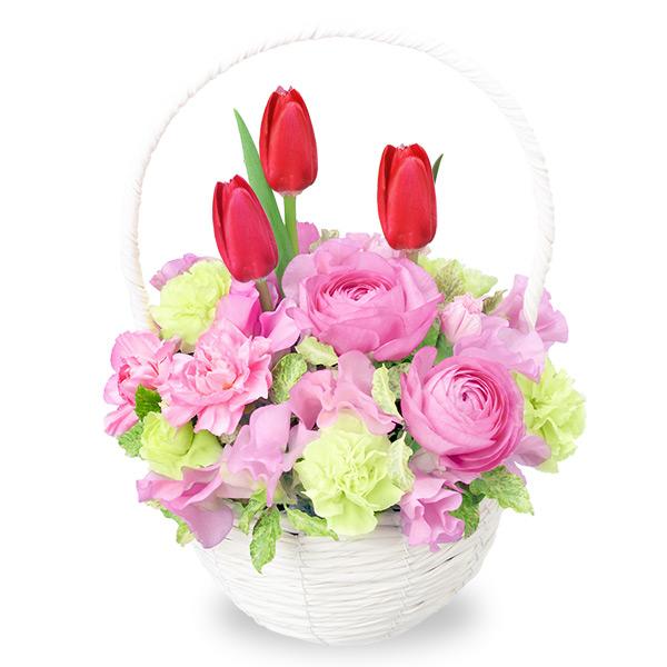 【2月の誕生花(チューリップ等)】赤チューリップのナチュラルバスケット