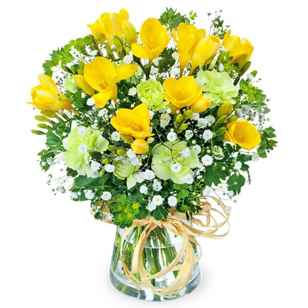 【春の誕生日】フリージアのグラスブーケ 512169 |花キューピットの2020春の誕生日特集