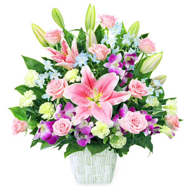 【誕生日フラワーギフト・ユリ】ピンクユリとデンファレの豪華なアレンジメント