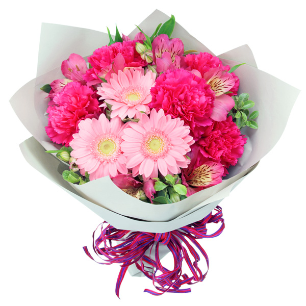 【春の退職祝い・送別会】ガーベラとアルストロメリアのブーケ 512176 |花キューピットの春の退職祝い・送別会