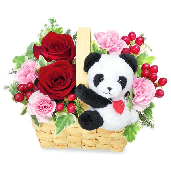 【誕生日フラワーギフト】赤バラのマスコット付きウッドバスケット