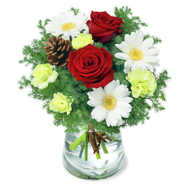 【12月の誕生花(赤バラ等)】赤バラと白ガーベラのウィンターグラスブーケ