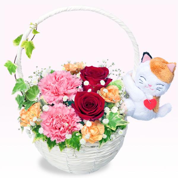 【12月の誕生花(赤バラ等)】赤バラのマスコット付きバスケット