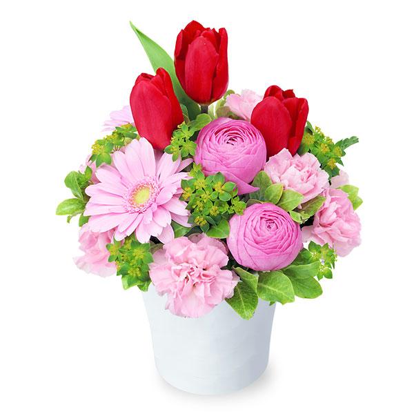 【チューリップ特集】赤チューリップのナチュラルアレンジメント 512192 |花キューピットの2019チューリップ特集特集