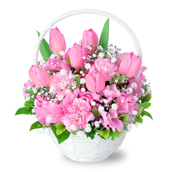 【春の誕生日】ピンクチューリップのナチュラルバスケット 512193 |花キューピットの春の誕生日特集