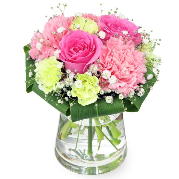 【5月の誕生花(ピンクバラ等)】ピンクバラのグラスブーケ
