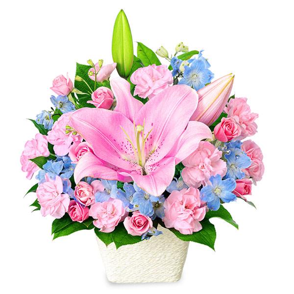 【結婚祝】ピンクユリのパステルアレンジメント