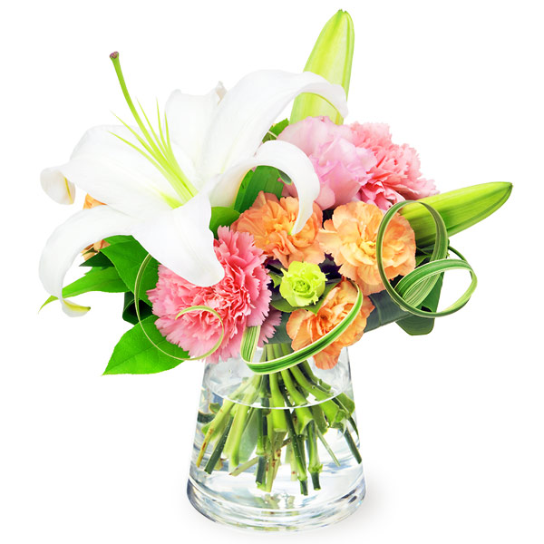 【結婚記念日】白ユリのグラスブーケ 512207 |花キューピットの秋の結婚記念日特集