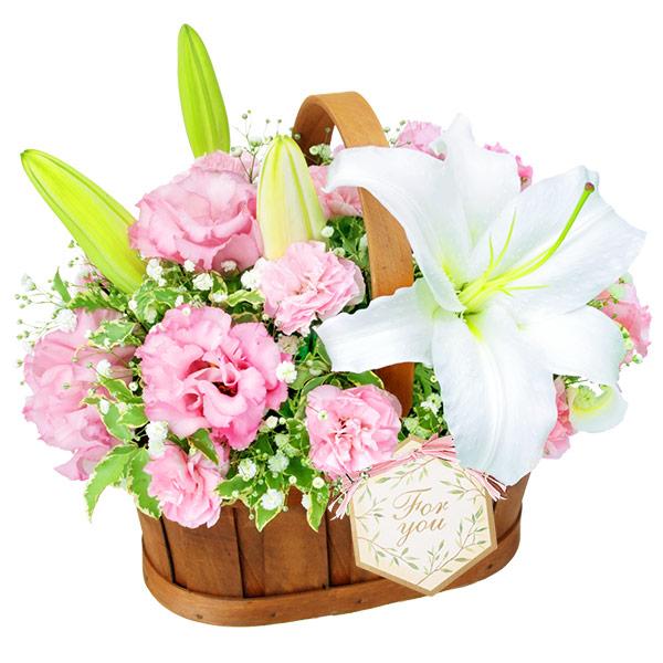 【6月の誕生花(ユリ等)】白ユリのハーモニーバスケット