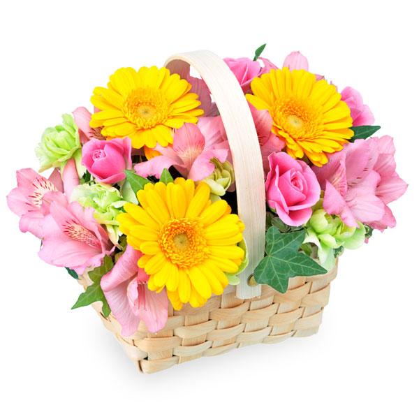 【4月の誕生花(アルストロメリア等)】アルストロメリアのウッドバスケット