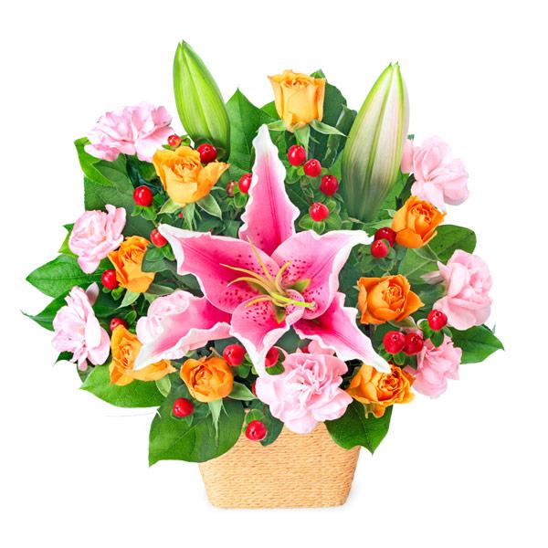 【お祝い】ピンクユリとオレンジのアレンジメント
