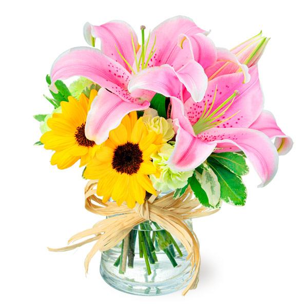 【夏の花贈り特集】ユリとひまわりのグラスブーケ 512223 |花キューピットの夏の花贈り特集2020