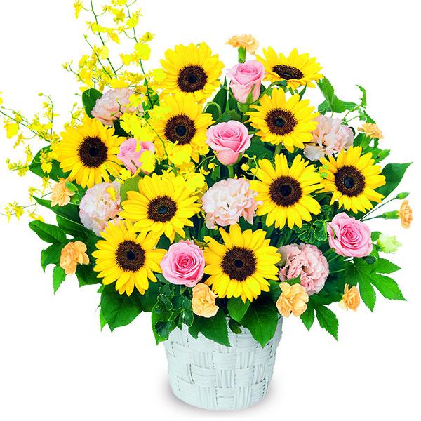 【ひまわり特集】ひまわりの華やかアレンジメント(ピンク) 512232 |花キューピットのひまわり特集2020