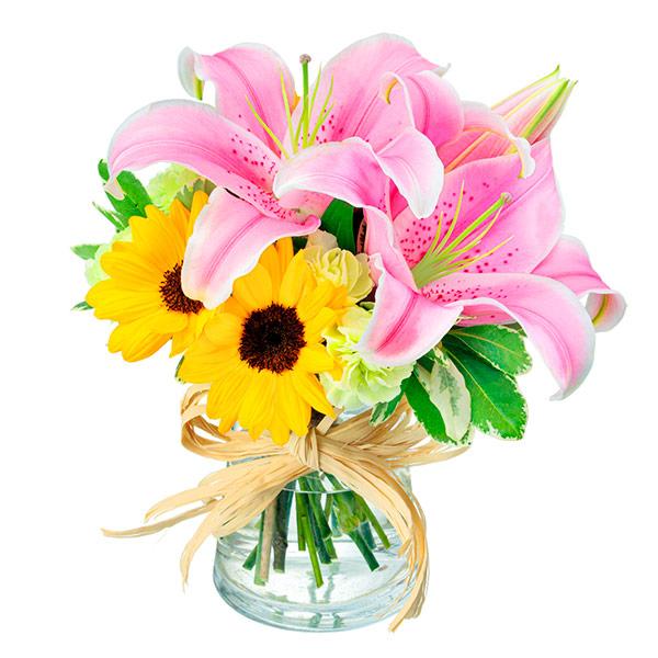 【ひまわり特集】ユリとひまわりのグラスブーケ) 512234 |花キューピットのひまわり特集プレゼント特集2021