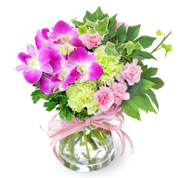 【9月の誕生花(デンファレ等)】デンファレとグリーンのグラスブーケ