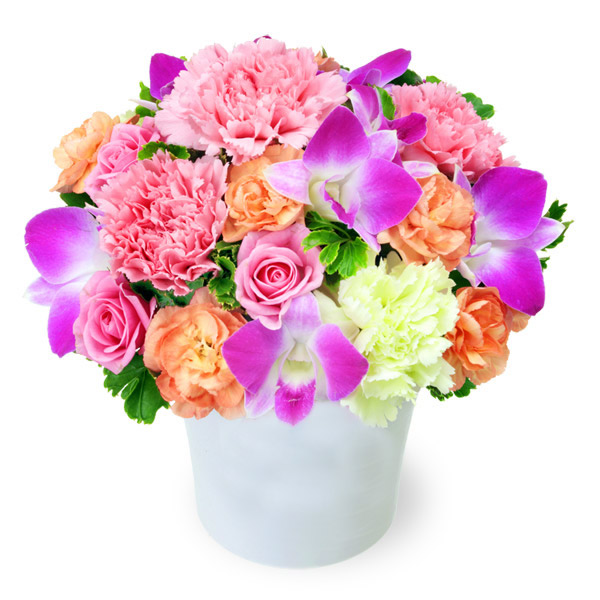 【9月の誕生花(デンファレ等)】ピンク&オレンジのアレンジメント