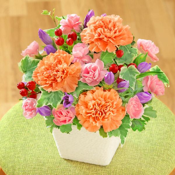 【敬老の日】リンドウとカーネーションのアレンジメント 512253 |花キューピットの敬老の日プレゼント特集2020