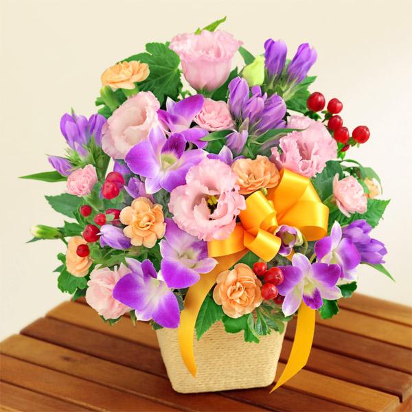 【敬老の日】オレンジリボンのアレンジメント 512256 |花キューピットの敬老の日プレゼント特集2020