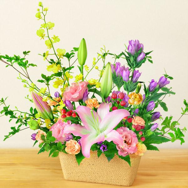 【敬老の日】ユリとリンドウの秋色アレンジメント 512260 |花キューピットの敬老の日プレゼント特集2020