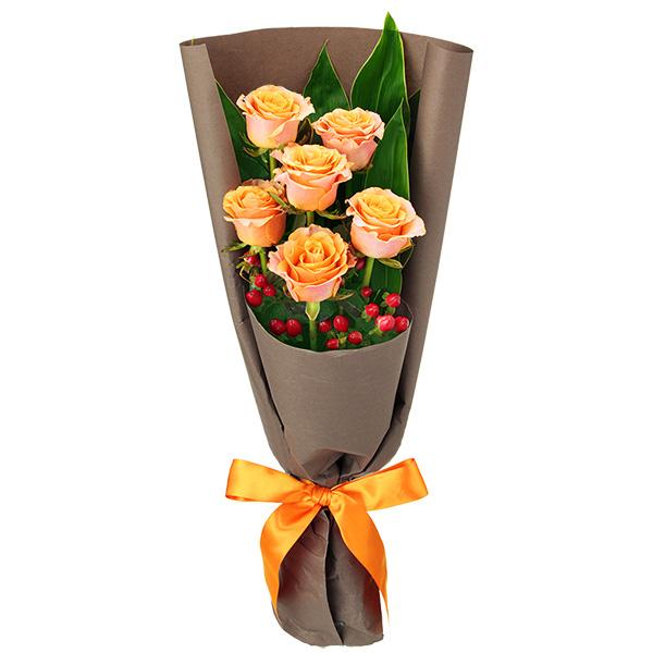 【誕生日フラワーギフト】オレンジバラ6本の花束