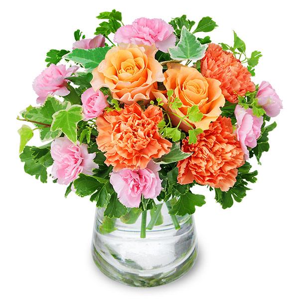 【いい夫婦の日】オレンジバラのグラスブーケ 512266 |花キューピットのいい夫婦の日特集