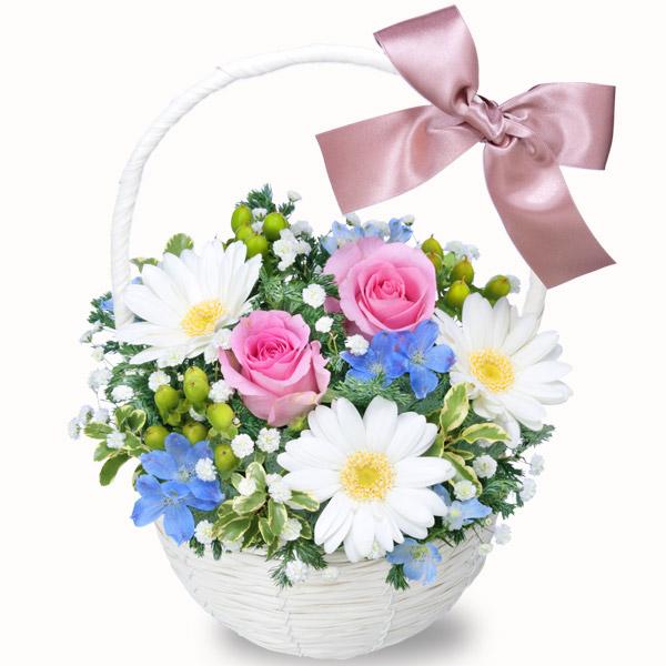 【結婚記念日】ピンクバラのウィンターバスケット