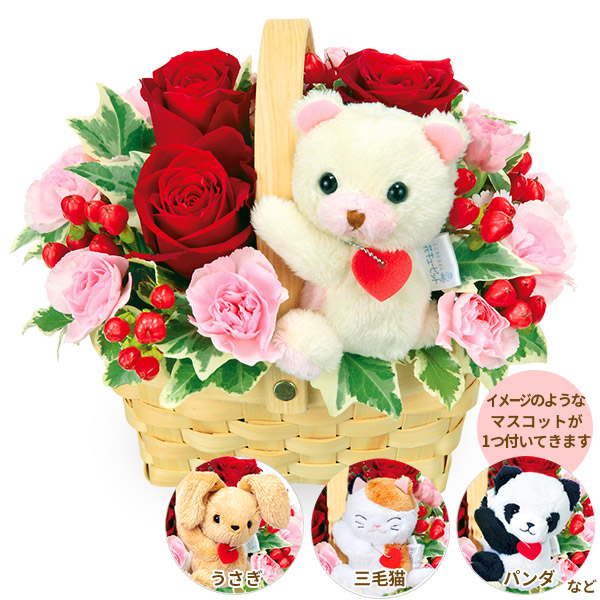 【結婚祝】赤バラのマスコット付きウッドバスケット