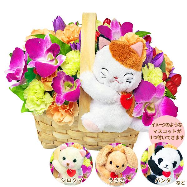 【誕生花 9月(デンファレ)(法人)】デンファレのマスコット付きウッドバスケット