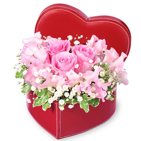【ホワイトデー】スイートピーのハートボックスアレンジメント 512310 |花キューピットのホワイトデー