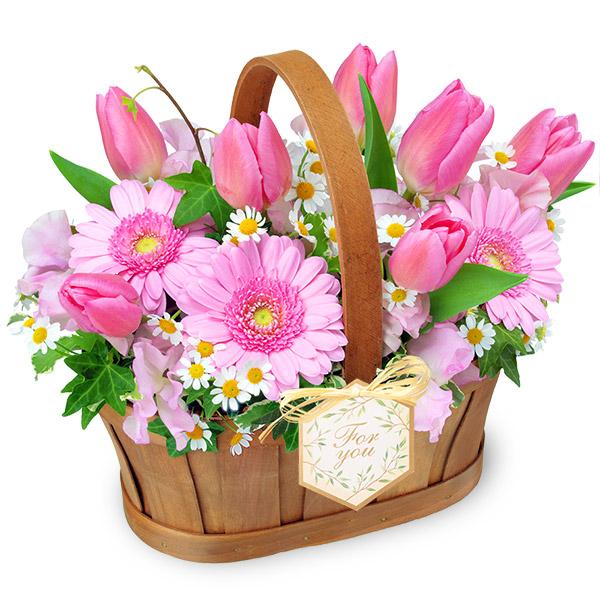 【春の誕生日】チューリップのハーモニーバスケット 512318 |花キューピットの春の誕生日特集