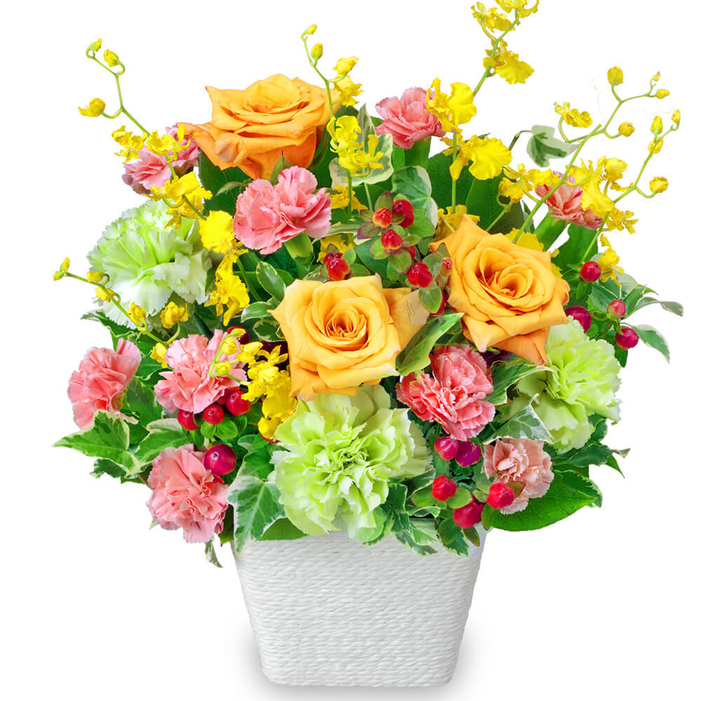 【春の退職祝い・送別会】オレンジバラの華やかアレンジメント 512319 |花キューピットの春の退職祝い・送別会