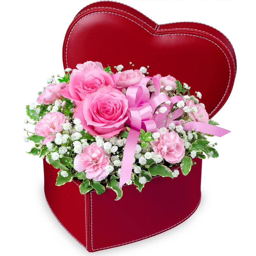 【愛妻の日】ピンクバラのハートボックスアレンジメント
