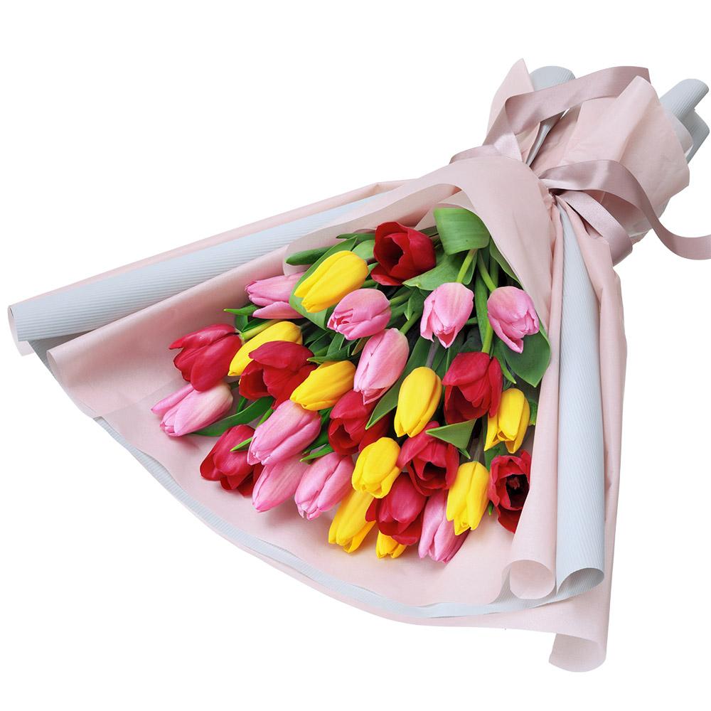 【チューリップ】カラフルなチューリップの花束 512335 |花キューピットのチューリップ特集
