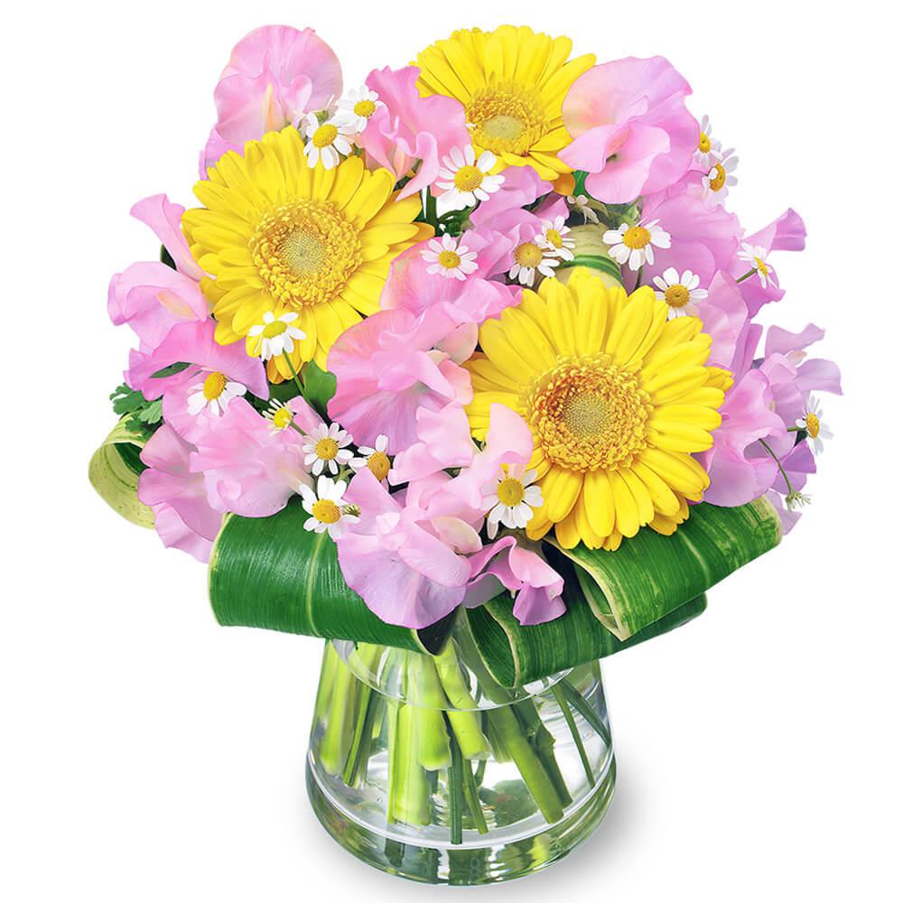 【フラワーバレンタイン特集】スイートピーとガーベラのグラスブーケ 512337 |花キューピットの2019フラワーバレンタイン特集特集